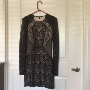 Long Sleeve Black Lace Nude Dress